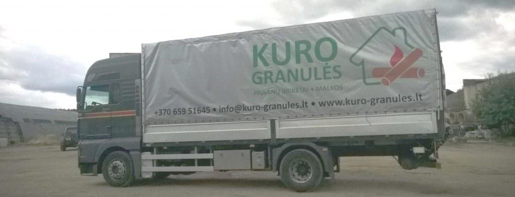 granulių ir briketų sunkvežimis
